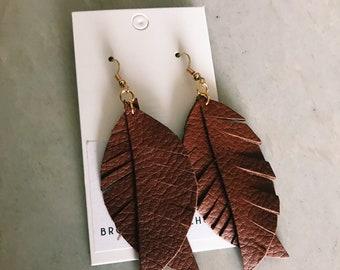 Split feather leather earrings