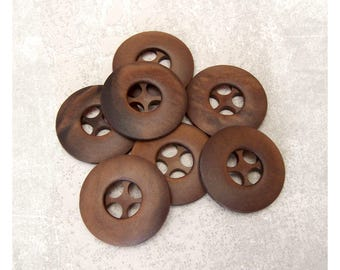 Modern Brown Buttons, 28mm 1-1/8 inch - Satin Walnut Brown Sew-Through Buttons - VTG NOS Dark Pecan Brown Retro Wheel Sewing Buttons PL145