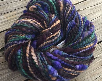 Beehive Coils ART YARN Buccaneer blue green burgandy gold handspun artyarn 116 yards polwarth wool spun from hello yarn fiber purple