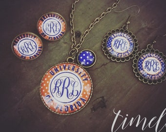 Personalized Monogram Necklace & Earring Set, Vintage Inspired, University of Florida Jewelry, UF Necklace and Earrings