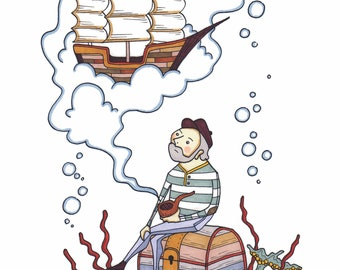 Sea Captain Pipe Dream Small Art Print
