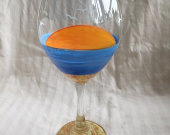Sunset wine glass