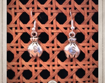 DOLLAR earrings silver western $ BOA007 bag
