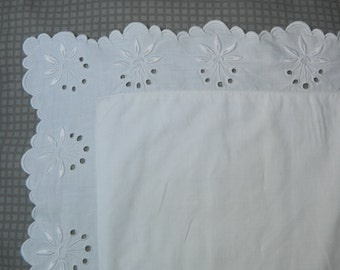 Antique french white vintage pillow cases handmade eyelet free shipping