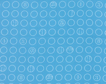 "By The HALF YARD - Figures by Brigitte Heitland of Zen Chic for Moda, #1553-18 Buttons in Oceans, White 7/16"" Blue Circles with Numbers"