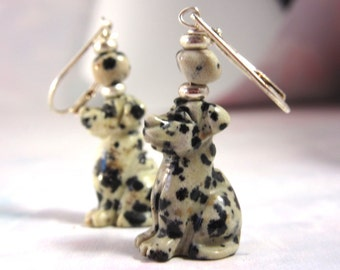 Dalmation dog earrings - dalmatine jasper - carved stone animal - dog jewelry - dog lover gift - sterling silver ear wires animal earring