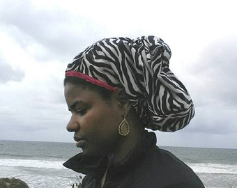 Natural Hair Accessory, satin-lined cap to deep condition natural hair on the go, kinky curly hair