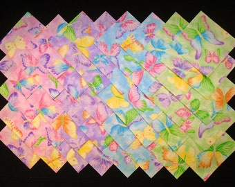 SPARKLING BUTTERFLIES 4 inch Squares, 100% Cotton Pre-washed,Quilt Fabric (#113A)