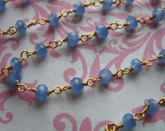 Rosary Chain, by foot, CHALCEDONY Wire Wrap Chain, PERIWINKLE, Beaded Chain, Gold or Silver, wholesale rc.13.p solo wf