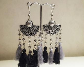 Boho Hematite Tassel Earrings Black, Gemstone Earrings, Gemstone Jewelry