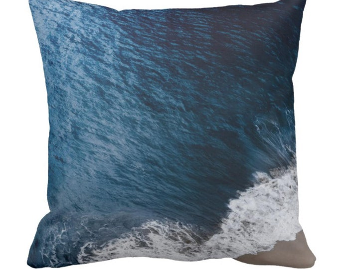 "Throw Pillow ""Dark Blue Ocean Meets Beach"""