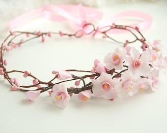 Sakura blossom Bridal crown, Flower Bridal crown, Bridal hair crown, Wedding flower crown, Flower Bridal headpiece, Bridal hair accessories