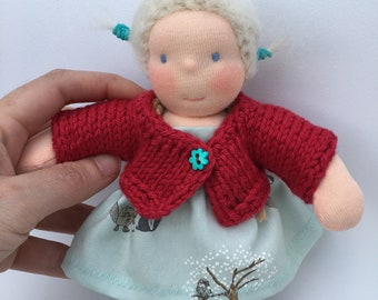 Little 7.5 inch waldorf doll, made of natural materials.