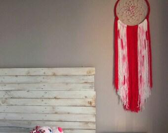 Pink boho Dream catcher, bohemian decor, gift for daughter, baby dreamcatcher, girls dream catcher for baby room nursery decor
