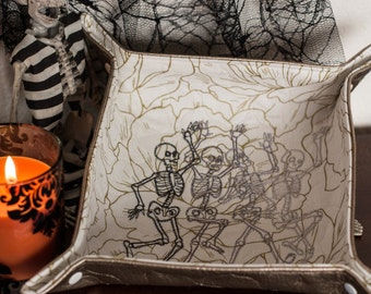 Halloween Ombre'd Dancing Skeletons Katch-All Medium Square