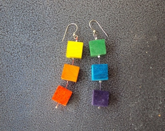 "Rainbow"" long earrings with multicolored wooden cubes, under 20 USD"