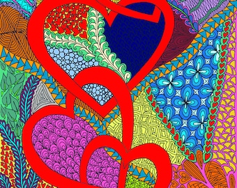 Love Coloring Page - Detailed and Intricate, Valentine, Zentangle Art, Doodle, Meditation, Joy - Digital Download Only