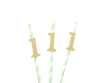 Mint & Gold Glitter Number 1 Paper Straws - Mint 1st birthday decorations, 1 straws, 1st birthday straws, 1st birthday party, one straws