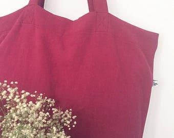 Raspberry linen Tote with inside zip pocket