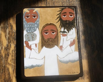 4 X 6 ish inch the Transfiguration byzantine/folk icon on wood