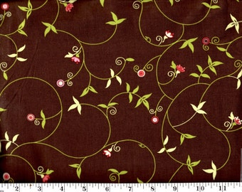 1 Yard, Flower Scrolls on Brown Brother Sister Studio Design B27-CJ-P26