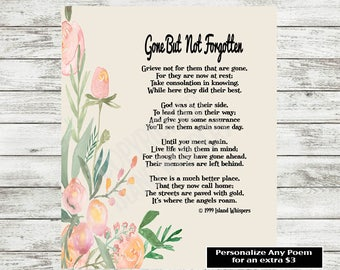 Memorial Poem, In Memory of Poem, Funeral Dedication Poem, Angels Poem, Sympathy Poem, Loving Memory of, Bereavement Gift, Instant Download