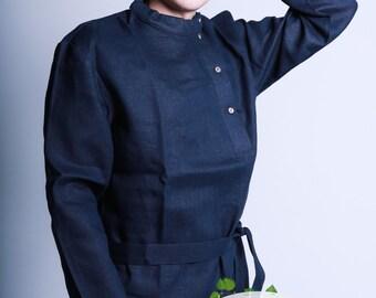 Russian slavic linen shirt Kosovorotka, Cossack shirt, Black shirt, Grey shirt, White shirt, Tolstoy shirt