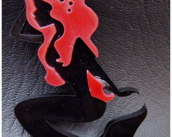 Cabochon Mermaid pin up red x 1