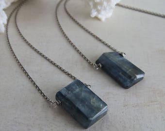 Raw Kyanite Pendant Necklace, Rustic Kyanite Stick, Blue Gemstone, Oxidized Sterling Silver Chain and Gemstone Necklace