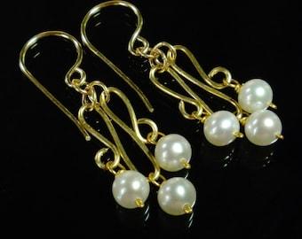 Pearl Chandelier Earrings Real Pearl Earrings Genuine Pearl Earring Gold Pearl Bridal Earring Gold Filled