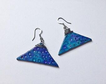 Triangle Earrings Stainless Steel Earrings Statement Earrings Art Deco Earrings Wire Wrap Earrings Polymer Clay Earrings Alcohol Ink