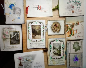 Antique Ornate Christmas and other Cards - WW1 to 1919