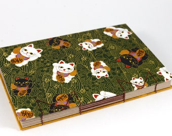 A5 Lucky Cat Print Japanese Washi Handbound Hardcover Coptic Journal Sketchbook Notebook - dotted writing paper