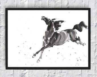 Black Horse Print - Wall Art Decor - Watercolor Painting Poster - Black and White - Mustang