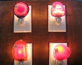 Pink Agate Nightlight,  Geode Nightlight,  Oblong Shaped Nightlight, Geode Slice, Dyed Stone, Round shaped Night Light, Group S