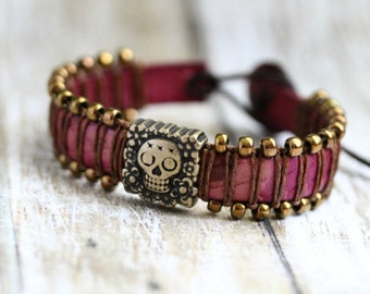 Sugar Skull Leather Bracelet, Beaded Cuff, Day of the Dead, Antique Bronze, Plum Leather, Womens Jewelry, Stacking Bracelet