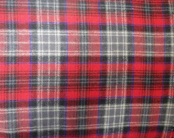 "Red & Gray Plaid Flannel, Yarn-Dyed Flannel, Cotton Flannel Fabric, 56"" Wide, BTY or Half Yard"