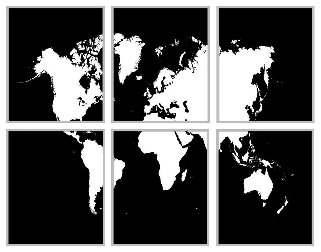 World map black and white 6 panel map 11 x 14 zoom gumiabroncs Image collections