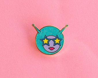 Alien Girl Enamel Pin Space Babe Lapel Pin Star Sunglasses Glitter Gifts under 10 Sci Fi