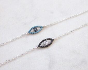 Eye silver chain bracelet, CZ charm layering bracelet, minimal sterling silver stack armband, modern everyday jewelry, protection talisman
