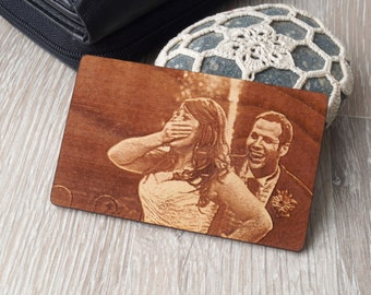Personalized wallet insert with real photo engraving, custom 5th anniversary gift, laser engraved wallet insert, double side engraving