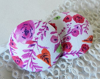 Floral purple fabric button, 32 mm / 1.25 in