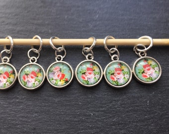 Shabby Chic Cabochon Knitting Stitch Markers
