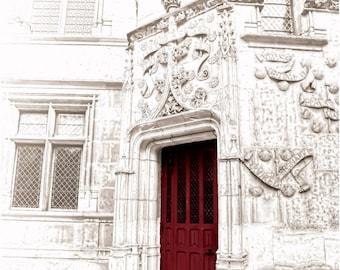 Paris Photography. Paris Photo, Paris Print, Paris Decor, Red Door, Castle, French Photography, French Photo, French Decor, Fine Art Photo