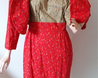 Vintage 60's Day Dress Red Suit Jacket 2 piece Cotton Set 1960's Spring Dress Caramel Double Breasted Jacket Women's Cotton Summer