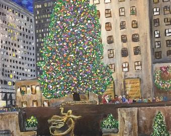 Christmas Card - Rockefeller Center Christmas Tree, New York, blank inside, artist signed on the back