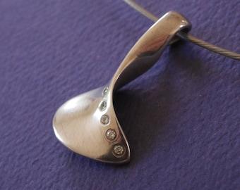 Silver pendant with 5 flush set diamonds, wearable sculpture, neckpiece, sculptural jewelry, Unique Artisan Accessory, women's elegant gift