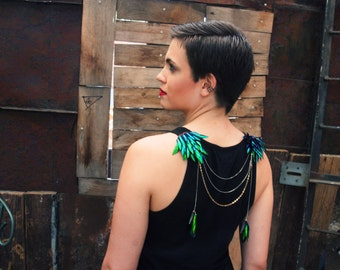 Tarsi Shoulder Necklace and Headpiece. Beetle Wing Jewelry with Gold Filled and Sterling Silver Chain