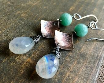 Rainbow Moonstone & Amazonite Copper Earrings, Mix Metal Earrings, Handmade in Alaska, Gift for Her, Gift for Mom, Gift for Wife
