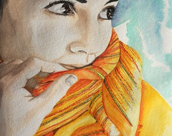 Portrait, watercolor, wall art, colorful, yellow, girl